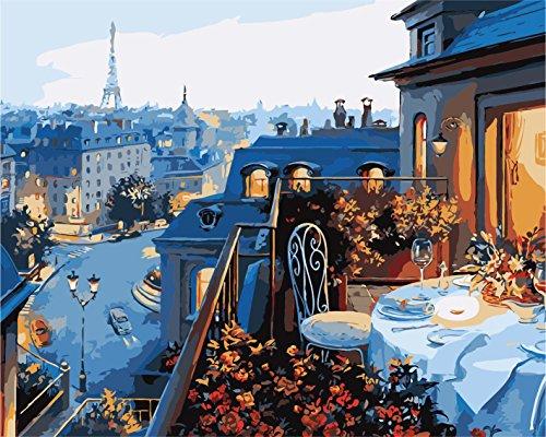 Fuumuui Lienzo de Bricolaje Regalo de Pintura al óleo para Adultos niños Pintura por número Kits Decoraciones para el hogar-Hotel Parisino 16 * 20 Pulgadas