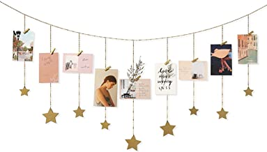 AMERTEER Hanging Photo Display Wood Stars Garland with Chains Picture Frame Collage, Wall Art Decoration with 25 Wood Clip...