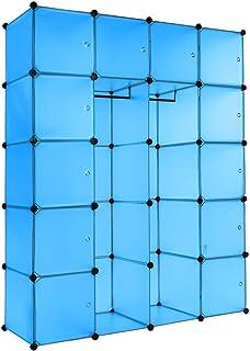 TecTake Estantería de plastico Modular Armario Cuadrados ropero Organizador con Barra de Colgar (Azul | No. 402088)