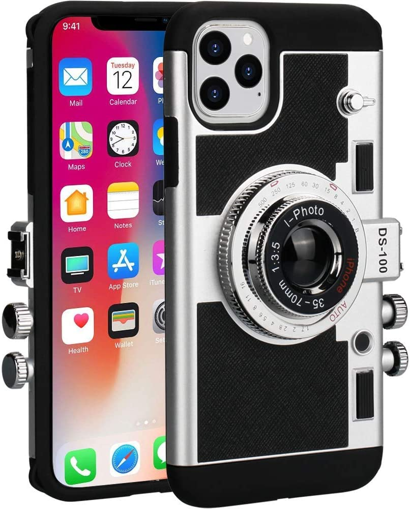 Awsaccy Emily in Paris Phone Case iPhone 11 Pro Max Camera Case Vintage Cover Cute 3D Cool Unique Camera Design Case PC Silicone Cover with Removable Neck Strap Lanyard for Girls Women Black
