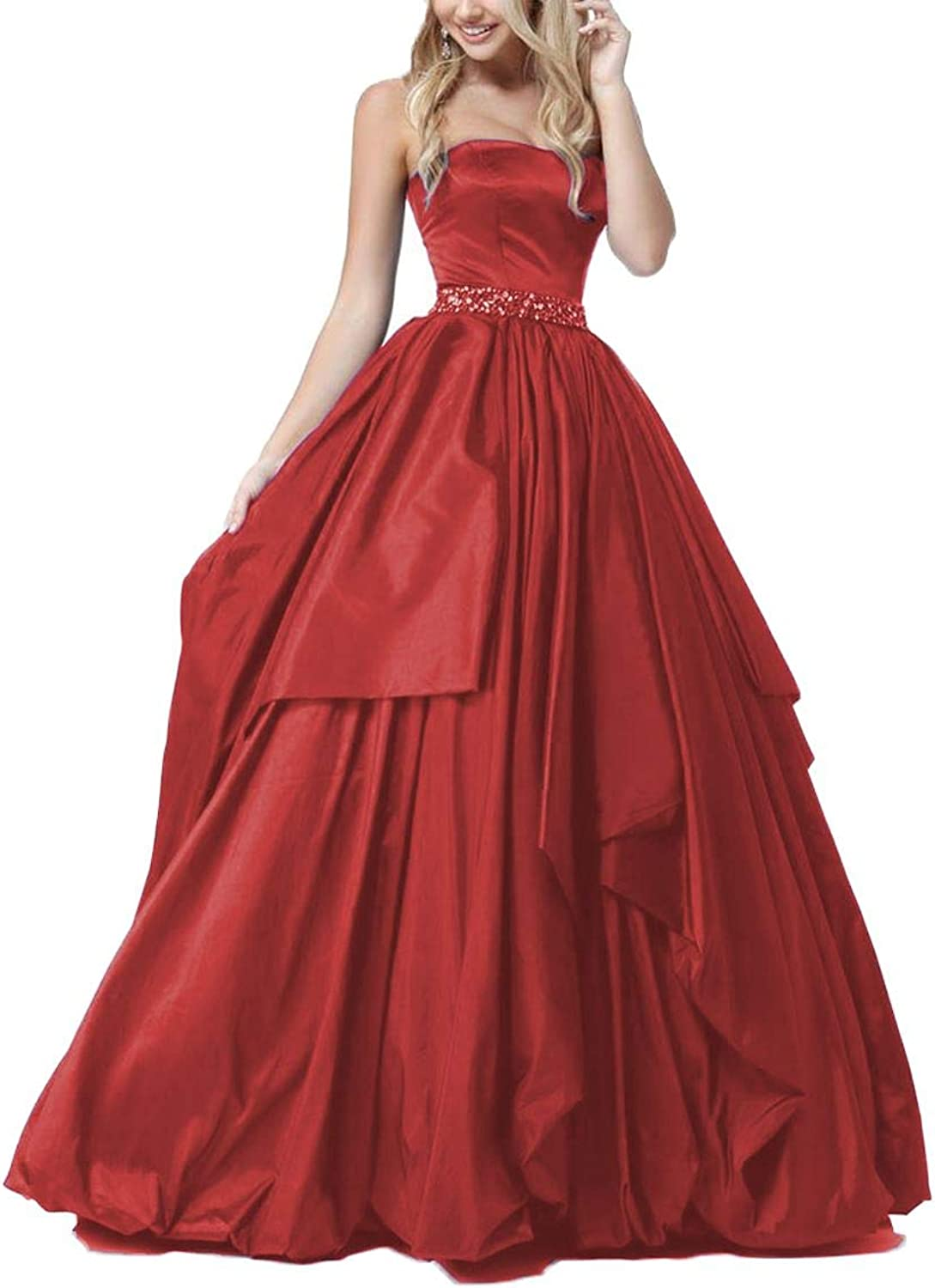 Yisha Bello Women's Beaded ALine Ball Gowns Long Satin Strapless Evening Formal Party Dress
