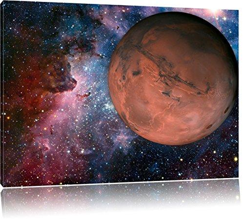 Mars im Weltall, Format: 100x70 auf Leinwand, XXL riesige Bilder fertig gerahmt mit Keilrahmen, Kunstdruck auf Wandbild mit Rahmen, günstiger als Gemälde oder Ölbild, kein Poster oder Plakat