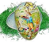 Unbekannt 2 TLG. Set: Ostergras + XXL - Füll - Pappei 35 cm groß - Osterei / Ei zum befüllen - Hase mit Violine Geige - Deko Pappe Papp Pappeier Dekoei Pappostereier Fü..