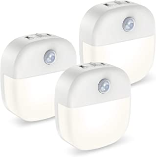 ORIA Luz Nocturna con Sensor de Movimiento, 3PCS Luces LED Armario con Adhesiva de Doble Cara, Lámpara Nocturna con 3Modos (Auto/ON/OFF) para Escaleras, Cocina, Sala de Niños, Pasillo - Blanco Cálido