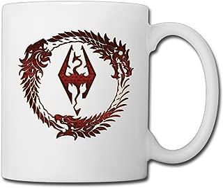 GREECT-SEVEN Cool The Elder Scrolls Ceramic Coffee Mug, Tea Cup | Best Gift For Men, Women And Kids - 13.5 Oz, White