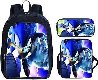 Mochila Escolar Sonic Canvas Boy, Mochila Ligera Impresa Sonic The Hedgehog para niña, 3 Piezas con Bolsa de Almuerzo y Estuche para lápices