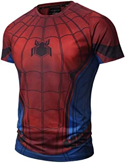Tsyllyp Superhero Compression Shirt Mens Fit Tight Bodybuilding T-Shirts Tops