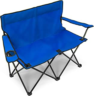 Sorbus Double Folding Chair with Cup Holder Cooler, Foldable Frame, Portable Carry Bag, Great Loveseat Outdoor Chair for Camping, Sporting Events, Travel, Backyard, Patio, etc