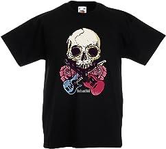lepni.me Camiseta para Niño/Niña Guitarras, Calavera, Rosas - Amantes del Concierto de Rock & Roll