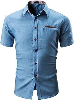 HELLOSAY Mens Fashion Hole Round Collar Tees Shirt Short Sleeve T Shirt