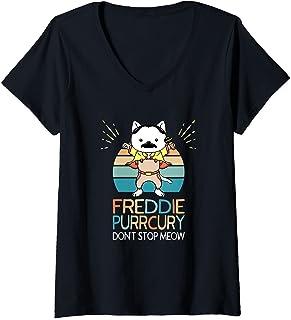 Femme N'arrêtez pas Miaou Freddie Purrcury Musique de Chat Drôle T-Shirt avec Col en V
