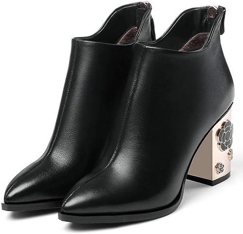 AnMengXinLing LIUXINYU-178-J602-1 - Stiefel de Piel auténtica para damen