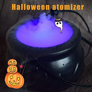 SNIDII Seasons Misting Cauldron Halloween Decoration Set, Witch Cauldron Trick or Treat Bucket with 12 LED Fog Maker, Black Plastic Cauldron Halloween Candy Bowl for Halloween Party