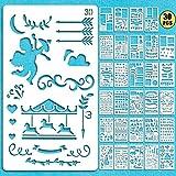 Vidillo Bullet Journal Pochoir,30 Pièces Pochoir à Dessin Pochoir Peinture Bullet Journal en Plastique,pochoirs Enfant pour Bricolage Dessin sur Scrapbooking Planning Pochoirs Journal