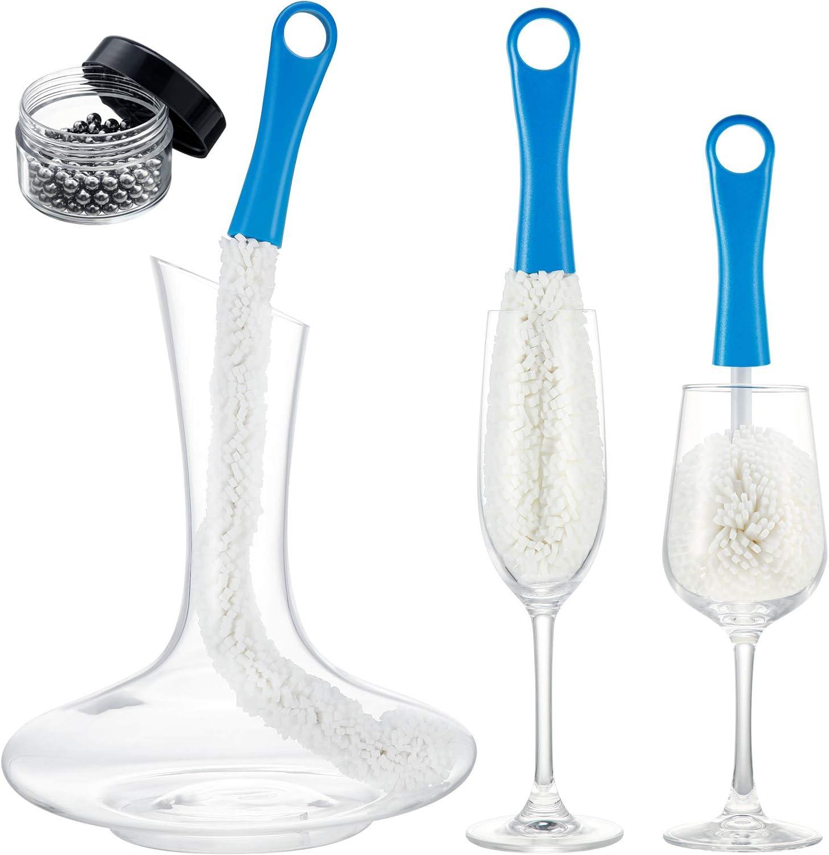 3 Cepillo de Limpieza de Decantador de Vino Estropajo de Botella Flexible con Bolas de Limpieza Acero Inoxidable Herramienta de Limpieza Casa Multiuso para Copa/Copa de Champán/Taza/Vaso (Azul)