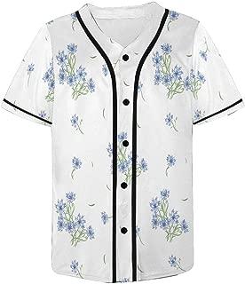 INTERESTPRINT Cornflower Or Bluebonnets with Buds and Leaf Mens Hipster Hip Hop Baseball Jersey