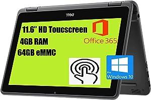 "Dell Latitude 3190 Premium Business 11 2-in-1 Laptop I 11.6"" HD Toucscreen I Intel 4-Core Celeron N4120 I 4GB RAM 64GB eMMC I Office365 Win10Pro Black"