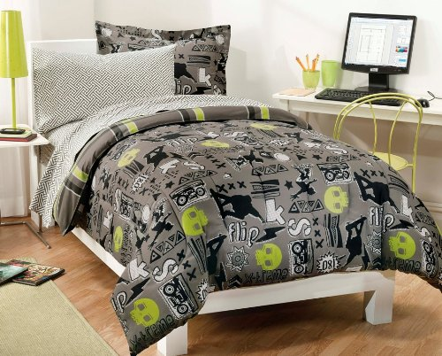 My Room Extreme Skateboarding Boys Comforter Set With 180Tc Sheets, Gray, Twin