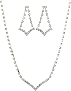 Rosemarie Collections Women's Rhinestone Strand V Necklace Drop Earrings Set