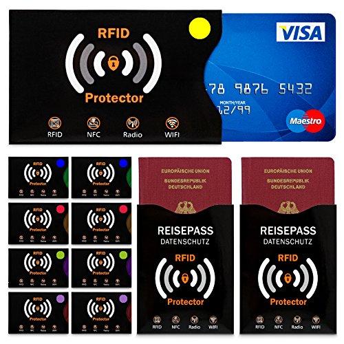 TRAVANDO ® RFID & NFC Schutzhülle (10+2 Stück) für Bankkarte, Ausweise, Kreditkarte, EC-Karte, Reisepass - Kreditkartenhülle/Kartenschutzhülle mit RFID Blocker + GRATIS E-Book + 10 Farb-Sticker