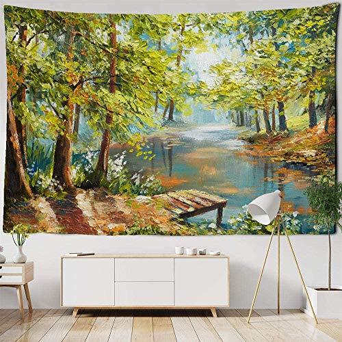 giyiohok Tapiz para colgar en la pared con pintura al óleo de color retro para colgar en el río, bosque, hippie, decoración de dormitorio, alfombra de picnic, 150 x 130 cm