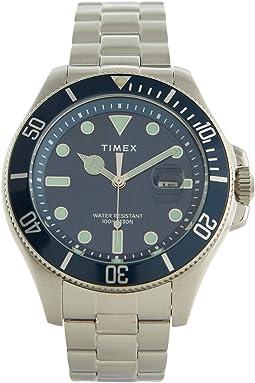 43 mm Harborside Coast Blue Bezel 3-H Silver Case Blue Dial Silver Bracelet