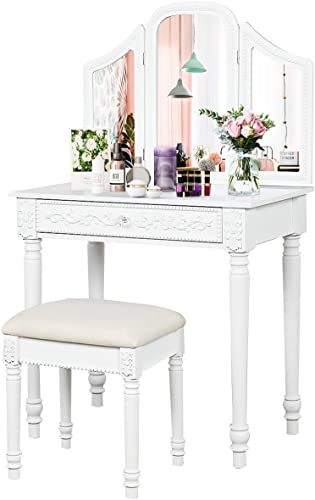 discount CHARMAID Vanity Set with Tri-Folding Mirror and Large Drawer, Makeup Vanity Table Set with Removable new arrival Top for Bedroom Bathroom, Makeup Dressing Table with Cushioned Stool for Girls sale Women outlet sale