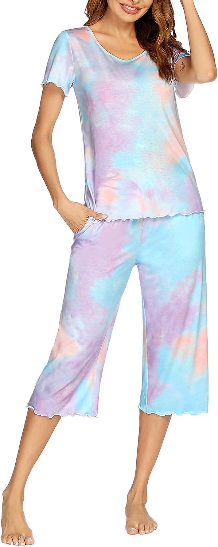 Ekouaer Women Pajamas Set Ruffle Seams Sleepwear with Pockets Printed Short Sleeves Top Elastic Waist Sleep Capri