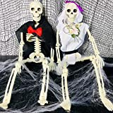 2 Sets 16' Posable Halloween Skeleton- Full Body Halloween Skeleton with Movable/Posable Joints bride and groom Accessories for Best Halloween Decoration