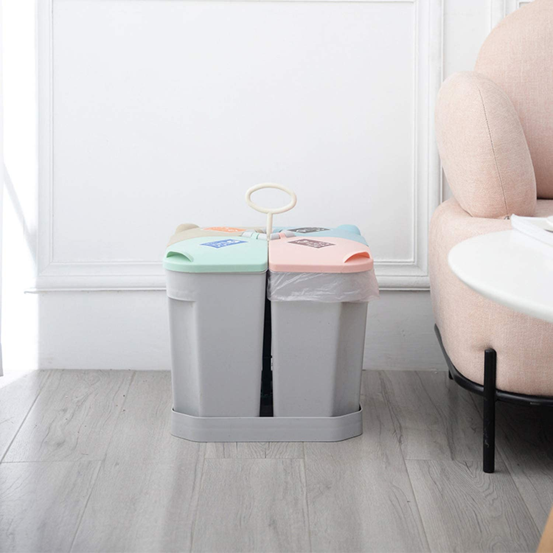 Color : A Oficina Cubo de la Basura port/átil for Cocina Winter 30L Bote de Basura con Tapa con Asas 4 Compartimiento de Reciclaje de Basura Clasificados Cubo de Basura Cuarto de ba/ño