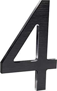 8 Inch Modern House Numbers- Premium Aluminum Floating Home Address Number with Elegant & Sophisticated Brushed Finish, Black, Number 4
