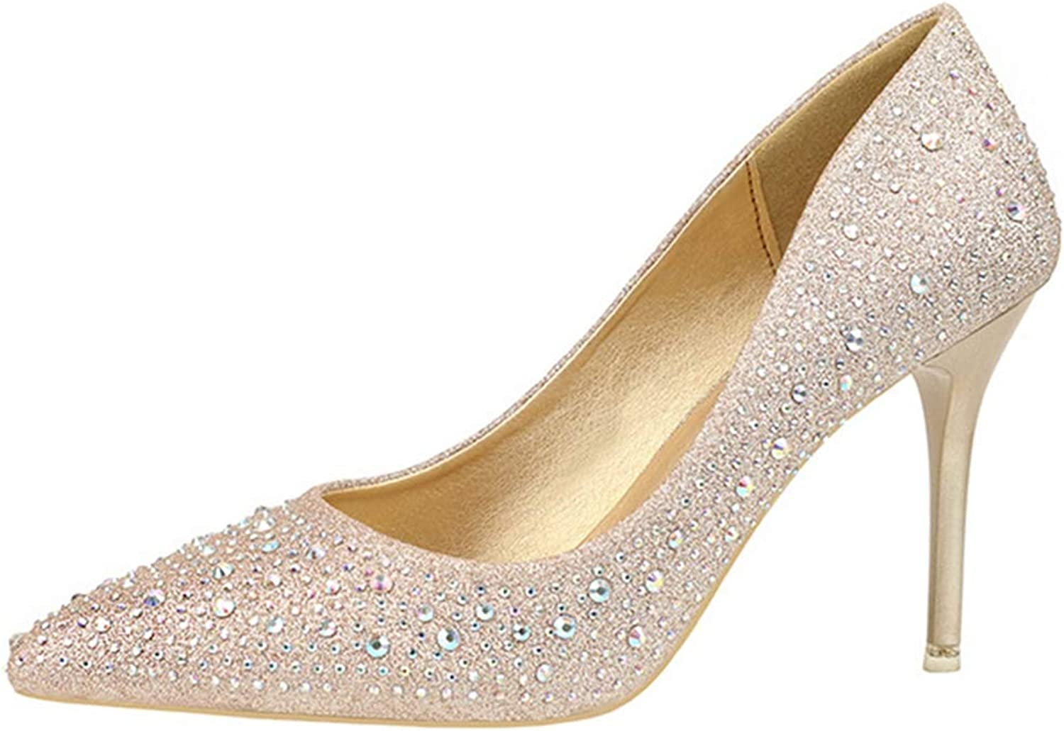Drew Toby Women Pumps Pointed Toe Sequin Solid color Shallow Fashion Elegant High Heels