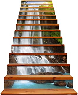 Stair Stickers 3D Self-Adhesive Stairs Risers Waterfall Mural Vinyl Decal Wallpaper Stickers Decor Decals for Home 13 Sets