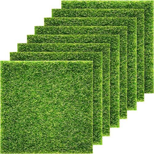 Pangda Artificial Garden Grass, Life-Like Fairy Artificial Grass Lawn 6 x 6 Inches Miniature Ornament Garden Dollhouse DIY Grass (8 Packs)