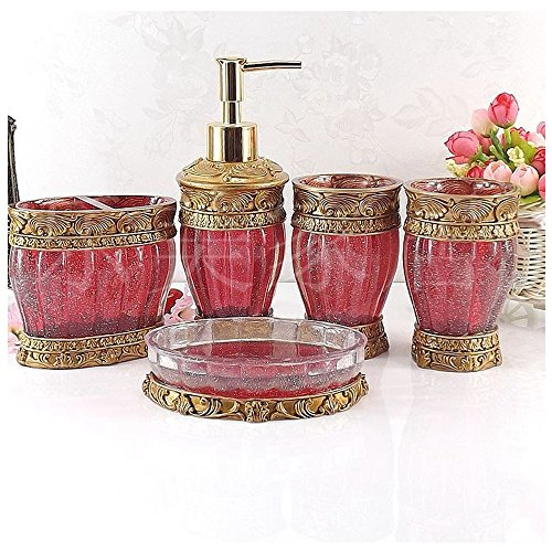 Vintage Red Bathroom Accessories 5piece Bathroom Accessories Set Bathroom Set Features Soap Dispenser Toothbrush Holder Tumbler Soap Dish Golden Glossy Bath Gift Set Buy Online In Suriname