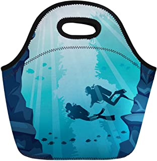 Semtomn Lunch Tote Bag Silhouette of Two Scuba Divers Stone Cave and Coral Reusable Neoprene Insulated Thermal Outdoor Picnic Lunchbox for Men Women
