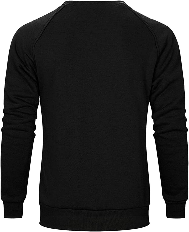 XUNFUN Men's Midweight Crewneck Sweatshirts Soft Casual Sports Basic Solid Raglan Long Sleeve Pullover Tops Blouse