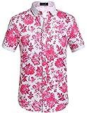 SSLR Men's Cotton Button Down Short Sleeve Hawaiian Shirt (Large, Fuchsia)