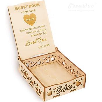 Creawoo Heart Holder Box Wooden Wedding Sign a Heart Drop Box for Guest Book- Message Box Wedding Gift for Friends