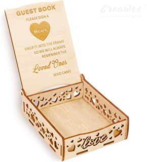 Creawoo Heart Holder Box Wooden Wedding Sign a Heart Drop Box for Guest Book- Message Box Wedding Gift for Friends