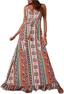 Women Print Casual Camis V Neck Sleeveless High Waist V-Neck Maxi Dresses