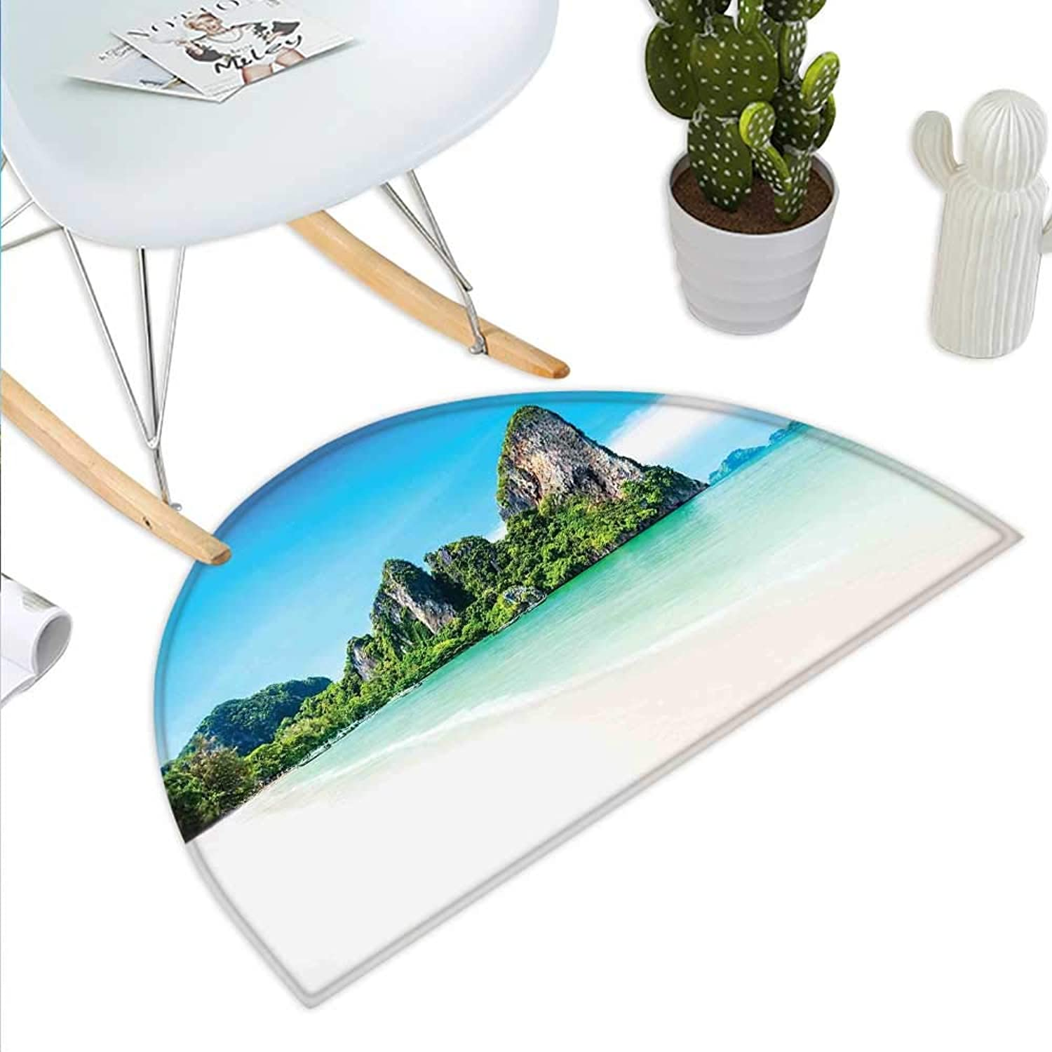 Landscape Semicircle Doormat Scenic View of a Beach with Lush Greenery and Limestone Rocks Summer Journey Halfmoon doormats H 43.3  xD 64.9  Multicolor
