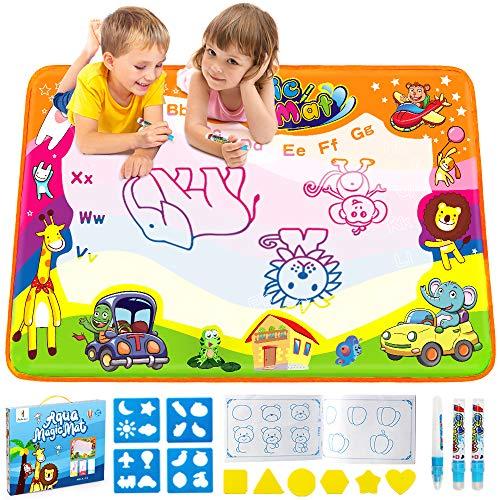 EpochAir Wasser Doodle Matte, Kinder Spielzeug Magic Malmatte 86 x 57cm mit Wasserfarben Stiftes Malset Lernspielzeug für Baby Kleinkinder Mädchen Jungen Geschenke Indoor Outdoor Garten Spiele