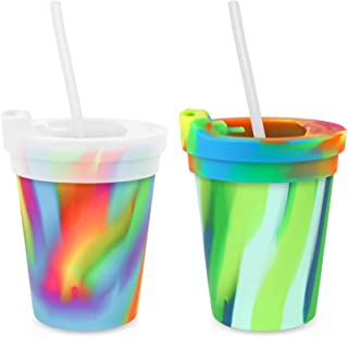 Silipint Safe Silicone Kids 8oz Cups Sea Swirl & Hippie Hop, U.S. Patented, BPA-Free, Unbreakable, Sealable Lid, Silistraws Included (2 Cups/Lids and Straws)