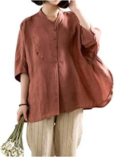 GUOQUN-SHOP Women's Linen Blouse High Low Shirt Roll-Up Sleeve Tops Shirts Pullover Tee (Color : Red, Size : One Size)