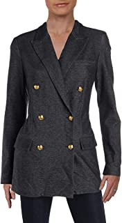 Womens Woven Office Double-Breasted Blazer