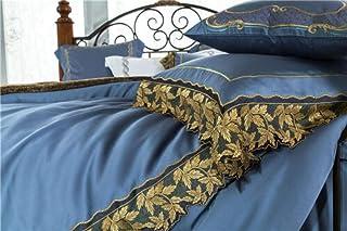 zlzty Seidenbettwäschesets doppelt, 4-TLG Bettwäscheset mit dunkelblauer Goldstickerei und Spitzenkante aus Seide, Einzelbettbezug, Spannbetttuch aus gebürsteter Baumwolle, 4-TLG. Queen-Size-Set