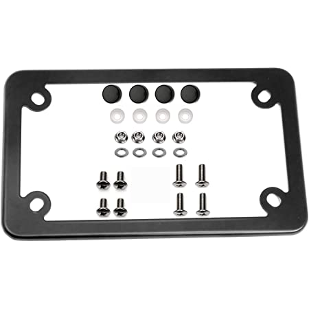 LFPartS Black Motorcycle Stainless Steel License Plate Frame