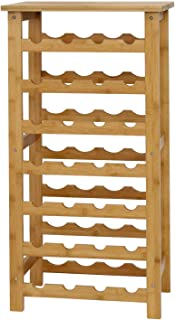 Peach Tree Bamboo Wine Standing Rack Countertop Bottle Storage Containers (28-Bottle)
