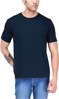 Round Neck Cotton Polo T-Shirt for Men - Navy Blue